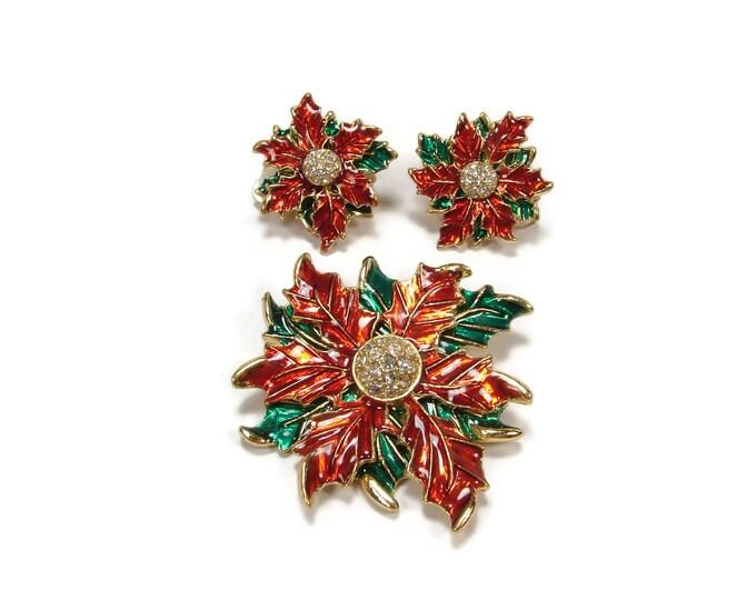 Vintage Eisenberg Ice Christmas Poinsettira Brooch Earring Set