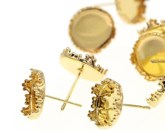 12mm Gold Tone Brass Ornate LACY Crown Earring Tray Settings, Earring Backs INCLUDED