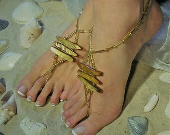 Barefoot Sandals-Anklet-Beach Wedding Barefoot Sandals-Shell Barefoot Sandals-Barefoot Sandals Boho-Foot Jewelry