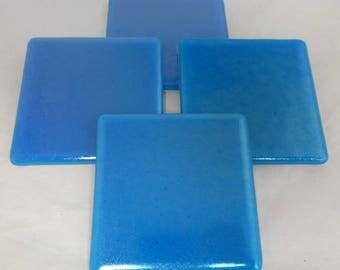 Fused Glass Coasters - Iridescent Turquoise Blue - set of 4