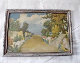 "Vintage 'The Promenade'  Print by R Atkinson Fox - Framed 9"" x 13.25"""