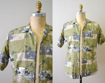 1950s Tropicana Asian Print Hawaiian Shirt