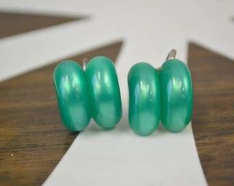 1950s Green Lucite Screw Back Earrings