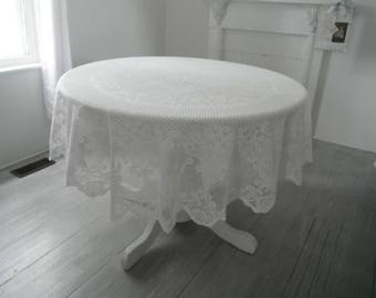 vintage tablecloth white oval cloth lace tablecloth shabby tablewares rustic wedding tablecloth cottage chic patterened cloth - 68 x 72 in