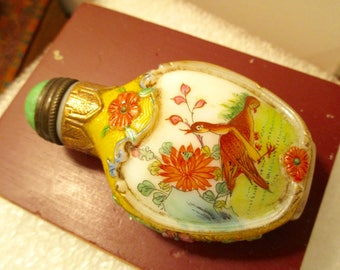 Examplary Early 1900's, Hand-Painted Chinese Porcelain, PEKING Glass Top; Enamel, Cloisonné SNUFF BOTTLE w/Removable Top - Estate: Rare!