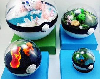 Any Pokemon Pokeball Terrarium or Ornament - Miniature Pokemon - Fairy Garden - Custom Environments