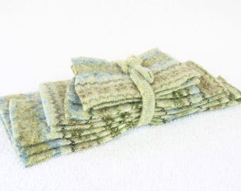 Destash Wool Scraps GREEN, BLUE, BROWN Fair Isle Felted Sweater Wool Scrap Pack Wool Fabric Pieces Craft Supplies by WormeWoole