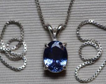Tanzanite Necklace, Certified 2.00 Carat Genuine Tanzanite Pendant, Oval Cut, Sterling Silver, Real Genuine Natural Blue Tanzanite