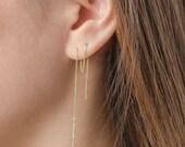 Striped Bar Threader Earrings, Sterling Silver Gold Plated, Long Chain Earrings, Thin Chain Stick Earrings, Minimal Lunaijewelry,  CHE123