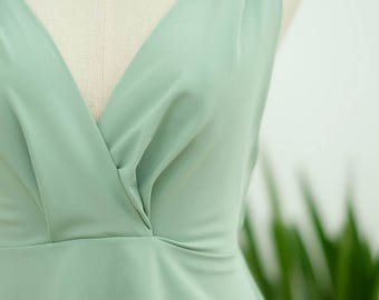 Sage green dress pine green dress forest green dress bow shoulder dress sundress bridesmaid dress party dress wedding bridesmaid dresses