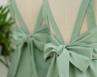 Flash SALE Sage green dress sage party dress green prom dress green cocktail dress bow back dress green bridesmaid dresses green backless dr