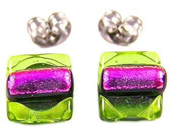 """Tiny Studs Dichroic Post Earrings - Lime Green & Fuchsia Pink Fused Glass Weave / Bright Spring Peridot Green w/ Magenta Dicro - 1/4"""" 8mm"""