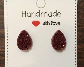 Burgundy Teardrop Druzy Stud Earrings