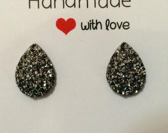 Gunmetal Charcoal Gray Druzy Teardrop Stud Resin Earrings