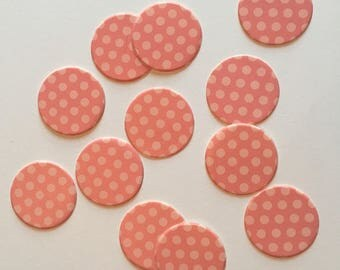 """1"""" pre-cut CIRCLE CONFETTI (100 pc)  --  Coral/Peach Polka Dot --  create you own garland, envelope seals, favor tags & mor"""