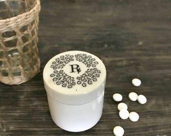 Porcelain Rx jar - vintage - travel size pill box