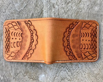 Tooled Wallet #2 - mens leather wallet - leather wallet - handmade leather - tooled leather wallet - mens wallet - leather art