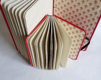 Royal lily, notebook, journal, A6, recycled, washable, coptic, elastic, rounded corners, red
