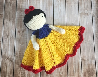 Snow White Inspired Lovey/ Security Blanket/ Soft Toy Doll/ Plush Doll/ Stuffed Toy Doll/ Amigurumi Doll/ Baby Doll-  MADE TO ORDER