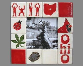 Ohio 8x8 MUD Pi Decorative Handmade Ceramic Mosaic Tile Picture Frame