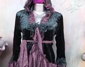 20%OFF wildskin, jacket, bohemian jacket, boho, gothic, bohemian gothic , coat, black velvet, stevie nicks, victorian, velvet, hoody, s, m,l