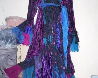 "20%OFF gothic steampunk bohemian jacket gypsy coat hippy paisley velvet  ....work of art!! medium to 44"" bust...."