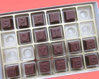 ship AFTER 8/7 Personalized Womens Teens Gift Mens Gift Graduation Gift Birthday Gift Him Her BFF  Funny Romantic 24 pc Milk Chocolate Messa