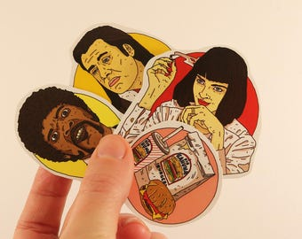 pulp fiction stickers laptop labels tags - tarantino films mia wallace vincent vega illustration