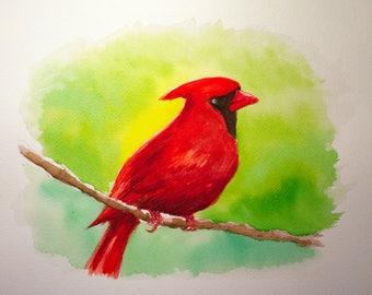 Cardinal Watercolor Painting