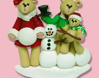 Bear Family of 3 with Snowman  HANDMADE POLYMER CLAY Personalized Christmas Ornament - Reduced!