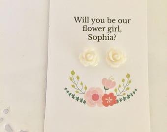 Flower Girl Earring | Flower Girl Gift | Flower Stud Earrings | White Flower Earrings | Bridal Party Gift | Sterling Silver