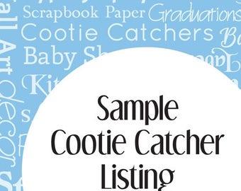 Sample Cootie Catcher Listing