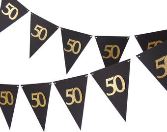 50th Birthday Pennant Banner, Black and Gold Party Decor, 6ft Photography Prop, Triangle Flag Bunting Banner