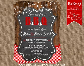 BaBy-Q - A Chalkboard and Red Gingham BBQ Baby Shower Invitation with Shimmering Lights and Wood Background - Beer and Baby - Couples Shower