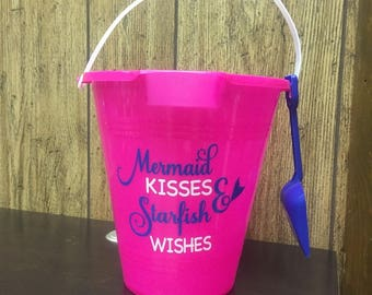 Personalized Sand Pail - Easter Bucket - Fun in the Sun - Sea you at the beach - Mermaid Kisses Starfish Wishes - Crab Catcher