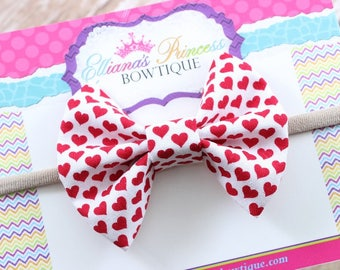 Baby Bows, Toddler Bows, Girls Hair Bows, Hair Clips, Boutique Hair Bows, Red Hearts Valentine's Day Fabric Bow, Nylon Headband, 3 Inch Bow