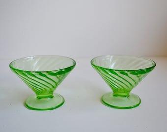 Pair of Pretty Green Dessert Cups
