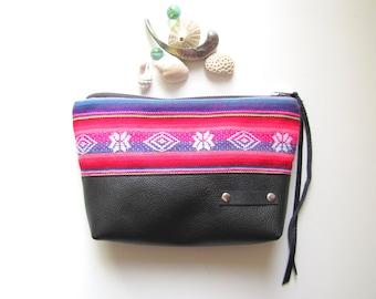Aguayo fabric and black leather bag