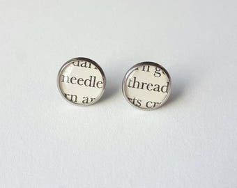 Needle and Thread Earrings - Stainless Steel - Sewing Earrings - Bookish Earrings - Earrings for Seamstress - Librarian Earrings