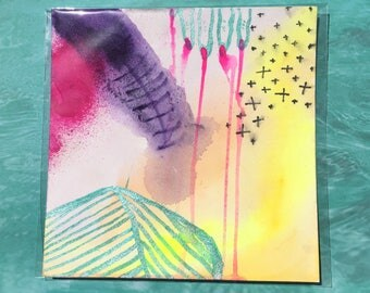 "Wound / Colorful Watercolor Painting on Artist Grade 8"" x 8"" Paper / Art by Sam Pletcher"