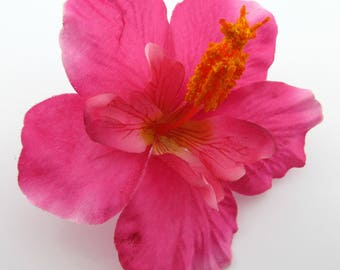 "4.5"" Fuchsia Pink Hibiscus Poly Silk Flower Brooch Pin"