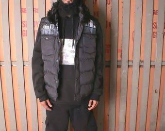 Rebel33 handpainted Made in Brooklyn skyline faux fur down vest in black