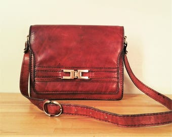 Brown Burgundy Vintage Handbag small leather crossbody