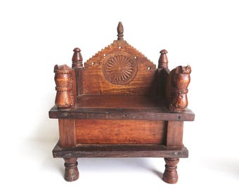 Singhasan Small Altar Teak and Rosewood Throne Deity Stand Shipping Included in the U.S.