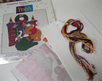 Early Christmas Plans and Shopping Project Santa Pooh Winnie the Pooh Counted Cross Stitch Kit NEW Collectible Crafting Fun For All Ages