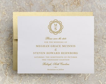 Gold Monogram Wedding Save the Date, Formal Save the Date, Elegant Save the Date, Monogram Save the Date, Gold Invitations, Postcard