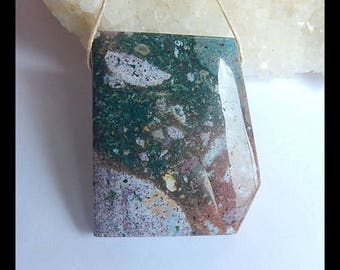 Natural Ocean Jasper Gemstone Pendant Bead,37x31x7mm,16g(h0022)