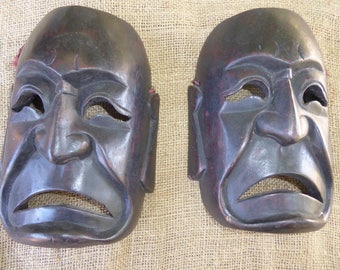 Two Vintage African Wood tribal Masks