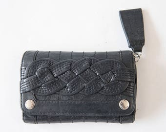 Genuine Leather Wallet, Black Leather Wallet, Tooled Leather Wallet
