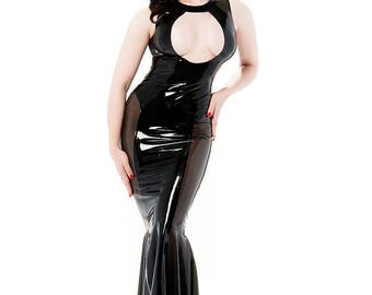 Sample size medium Jacqueline keyhole latex gown